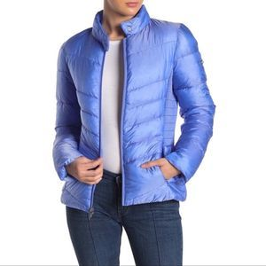 Via Spiga Smocked Quilted Blue Puffer jacket